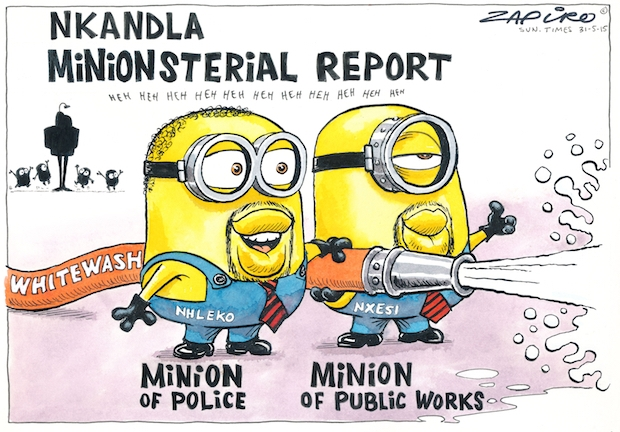 In May 2015, South Africa's Police Minister Nkosinathi Nhleko and Public Works Minister Thulas Nxesi released their own Nkandla report, commissioned by President Jacob Zuma. It justified expenses such as a cattle enclosure, amphitheater, swimming pool and