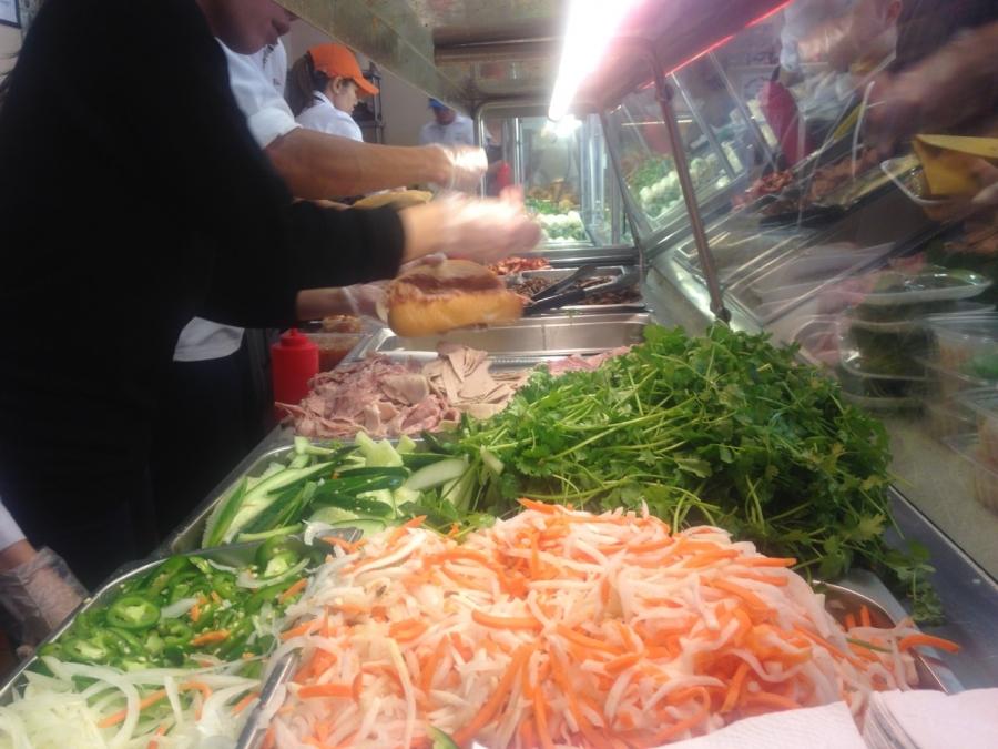 Building the perfect Banh Mi sandwich at Banh Mi Ba Le.