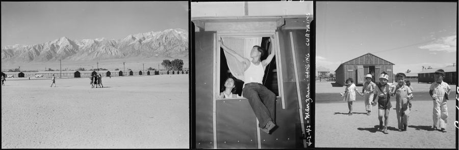 Three black and white photos of rows of barracks, a man hanging a curtain on a wooden frame, children running in front of one housing unit