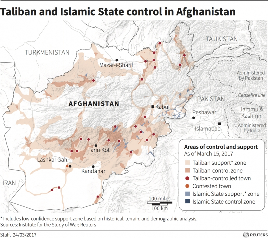 Map showing Taliban and ISIS control in Afghanistan
