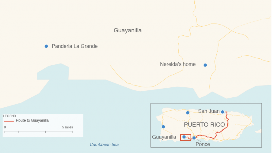 A map shows the route reporters took to Guayanilla, on the southern coast of Puerto Rico.