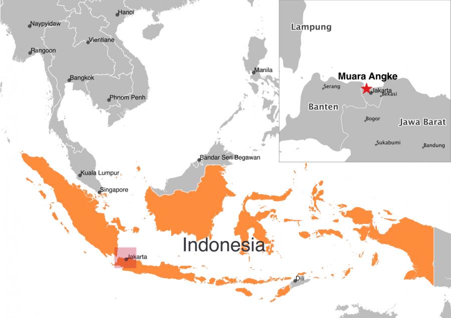 map Muara Angke Indonesia plastic in ocean
