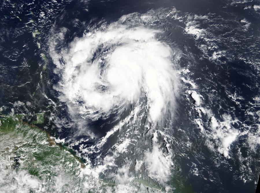 Hurricane Maria is shown in the Atlantic Ocean