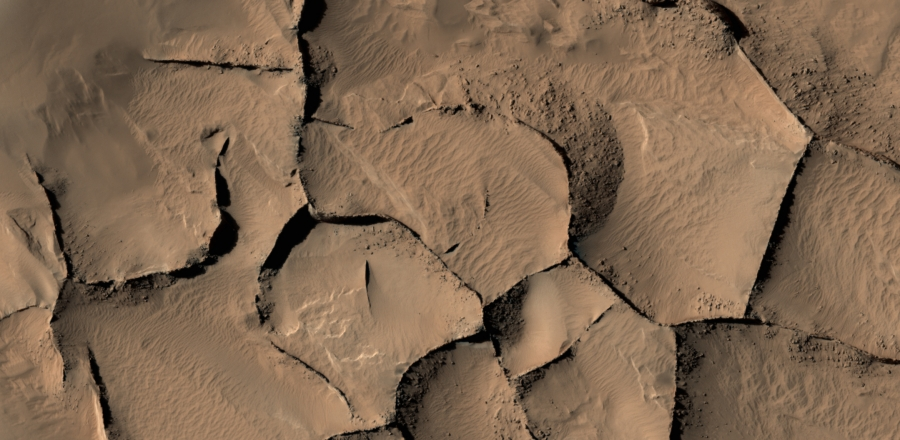 This view shows part of an area on Mars with narrow rock ridges, some as tall as a 16-story building.