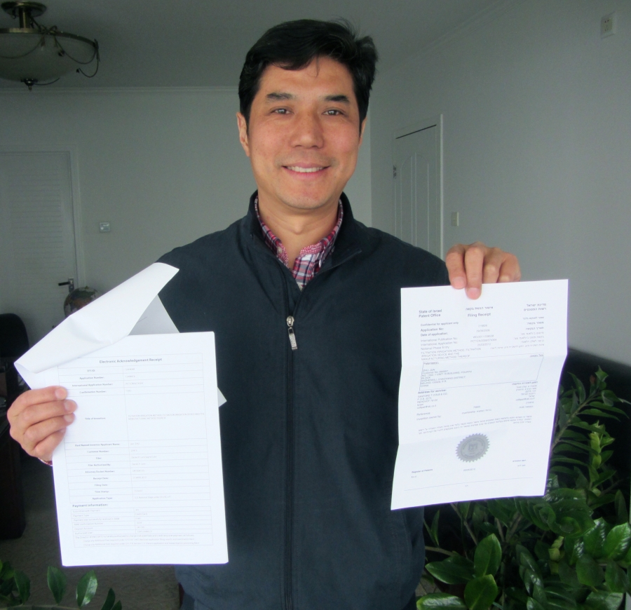 Trace Irrigation inventor Zhu Jun holds one of his applications for a patent on the technology. Zhu has so far been granted patents in China, New Zealand and Japan, and has applications pending in the United States and elsewhere.