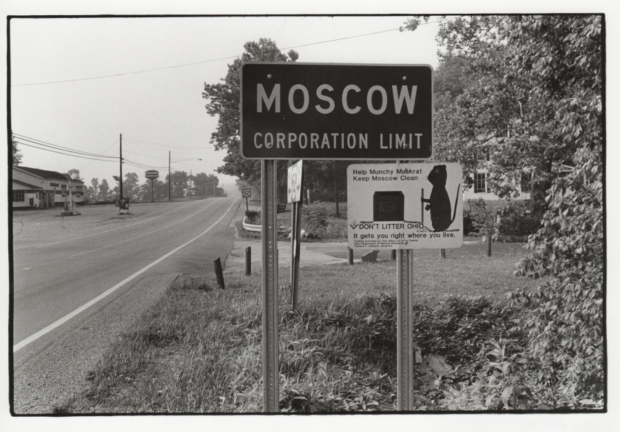 A road sign in Moscow, Ohio in 1987.