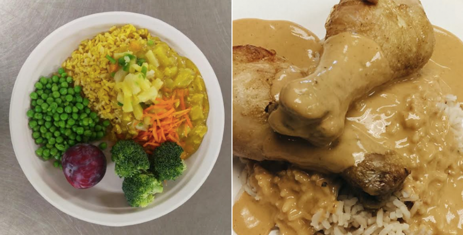 Left, a bowl with yellow rice and vegetables. Right, Chicken with curry over rice.