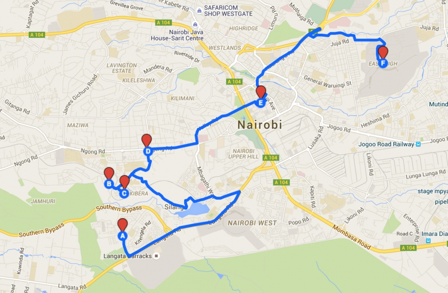 Margaret Wairimu drives this 9 mile route through Nairobi daily in her matatu.