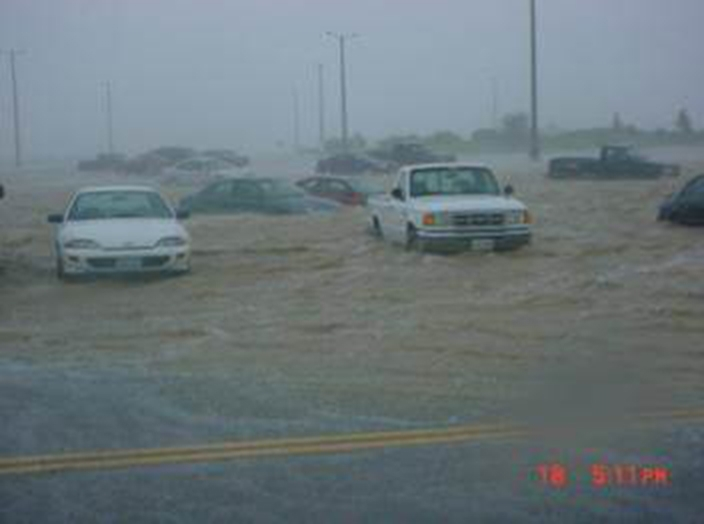 Flooded parking lot