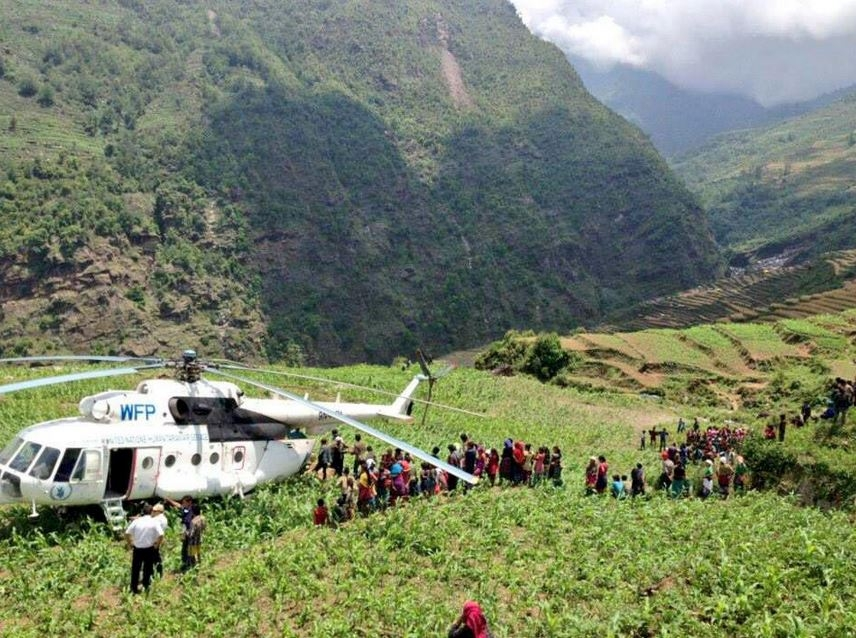 Reaching villages on mountaintops with food.