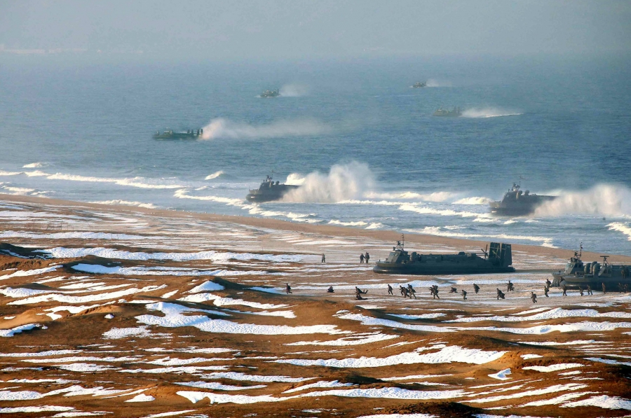 Photoshopped image of hovercrafts.