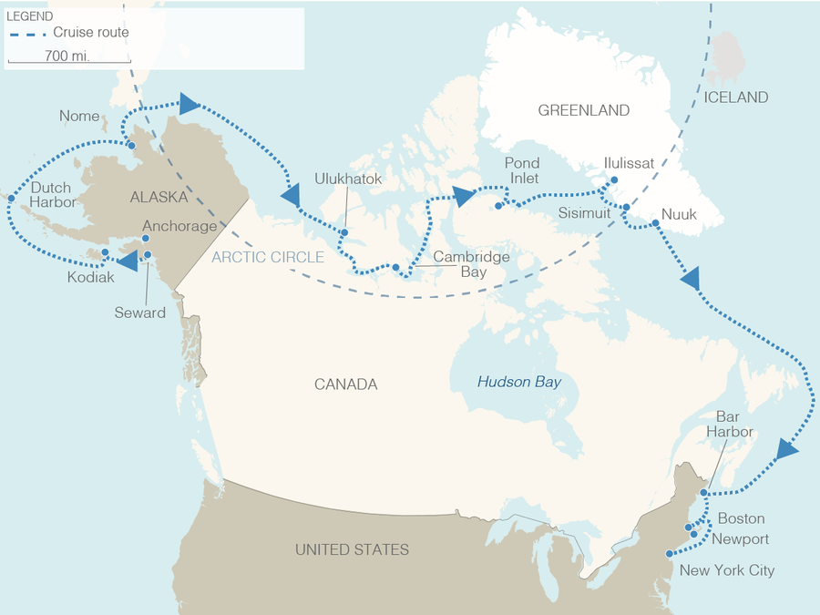 A map shows cruise stops and the route, which begins in Seward, Alaska, and ends in New York City after winding through the Northwest Passage.