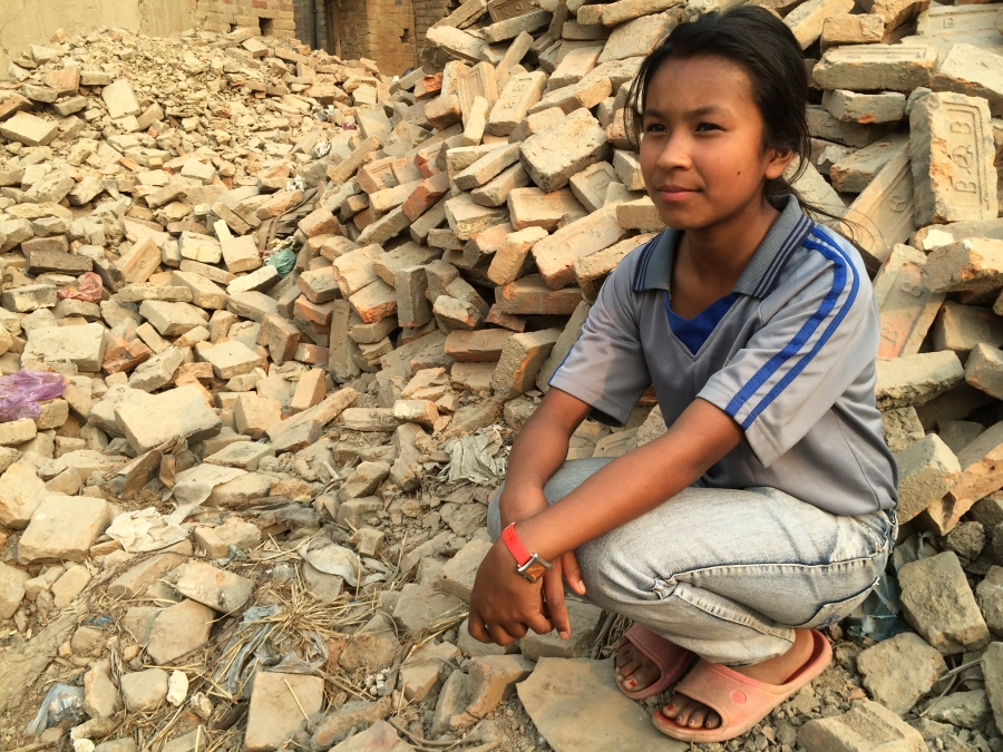 Shreesha Duwal at the site of her former home in Bhaktapur, Nepal