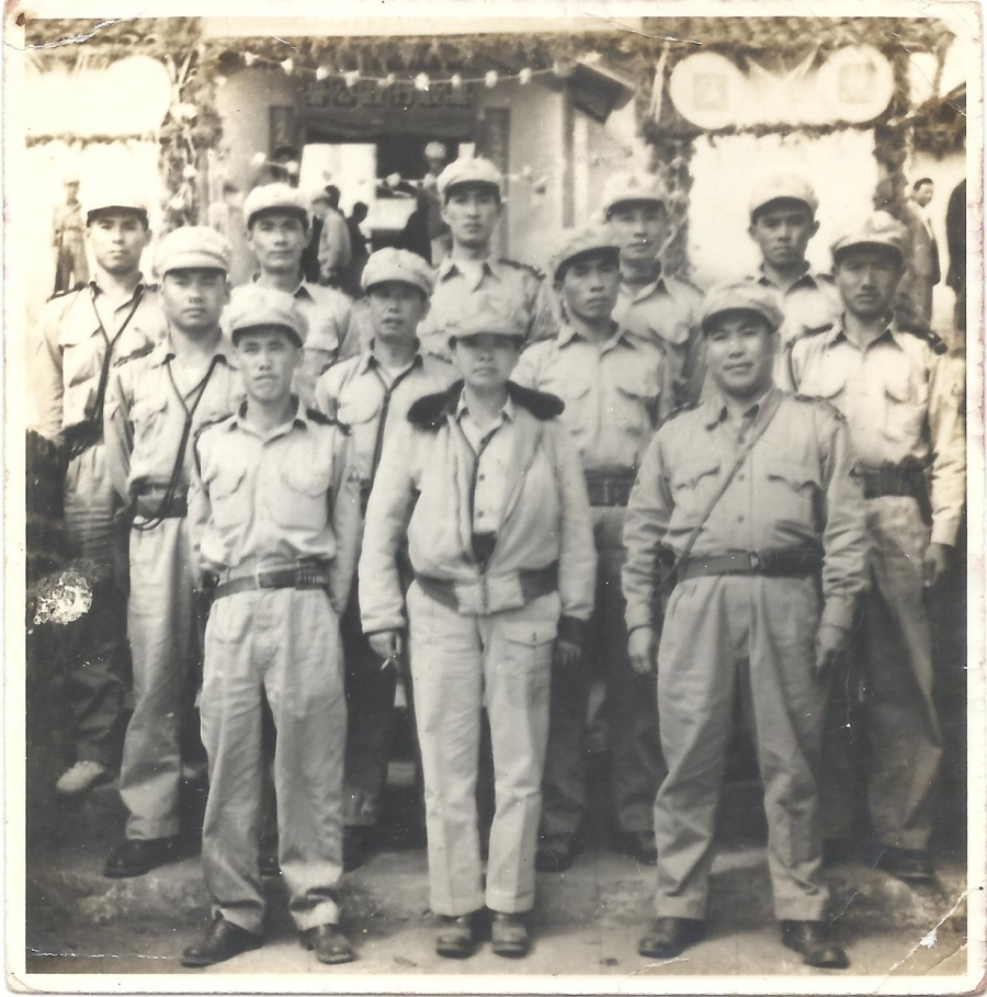 Olive with her soldiers, ca. 1956.