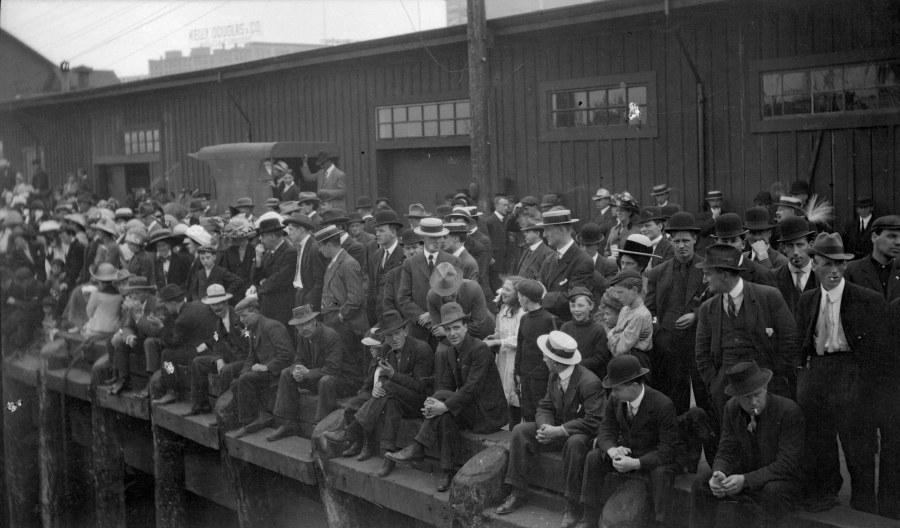 Onlookers on the wharf in Vancouver watching the Komagata Maru