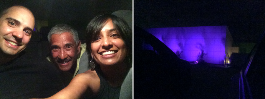 On the left, a selfie of the author and colleagues in their car in front of Paisley Park. On the right, a purple building at night.