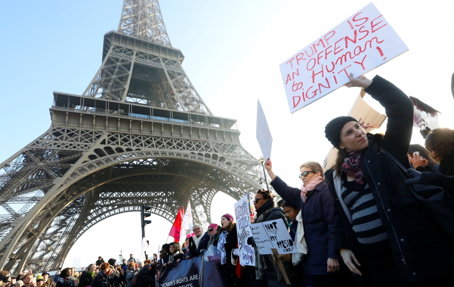 Protesters take part in the Women's March in Paris, France, January 21, 2017.