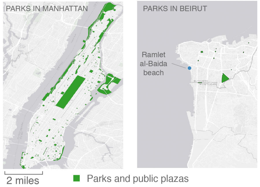 Map: Manhattan versus Beirut public space