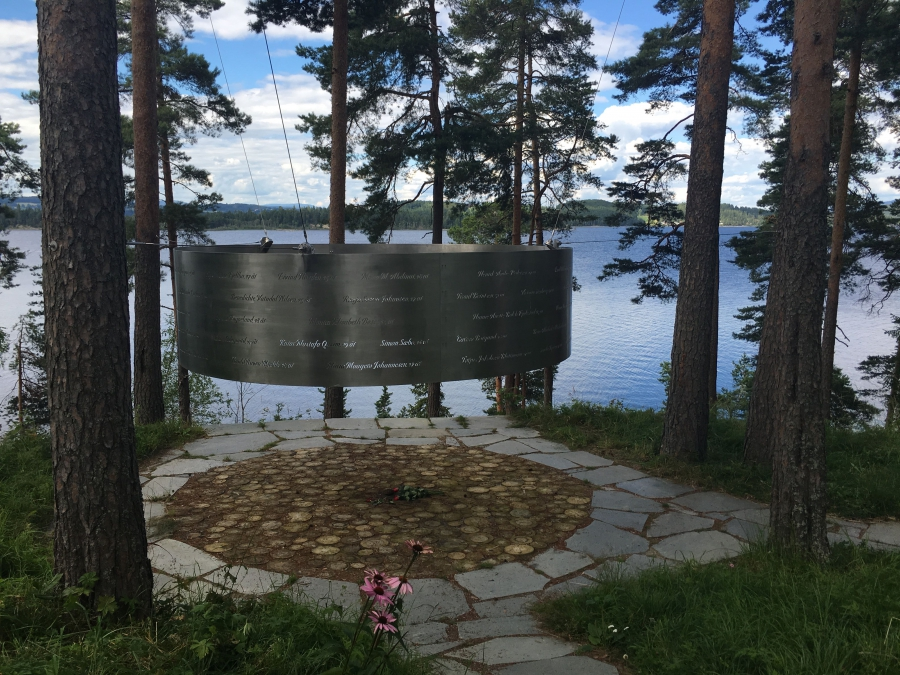 The names of the 69 victims of the Utoya massacre on July 22, 2011 are engraved on this memorial that stands alongside the island's shore.
