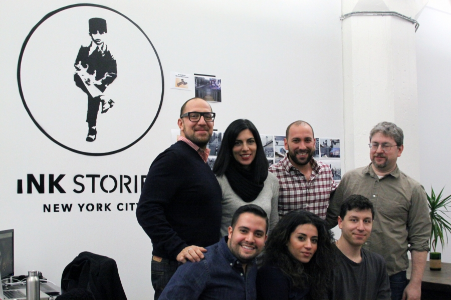 Navid Khonsari (standing first from left) and his team at Ink Stories studio in Brooklyn, New York.