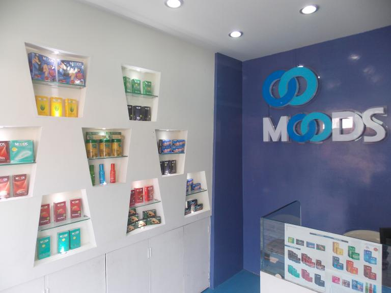 Inside the Moods Planet condom store.