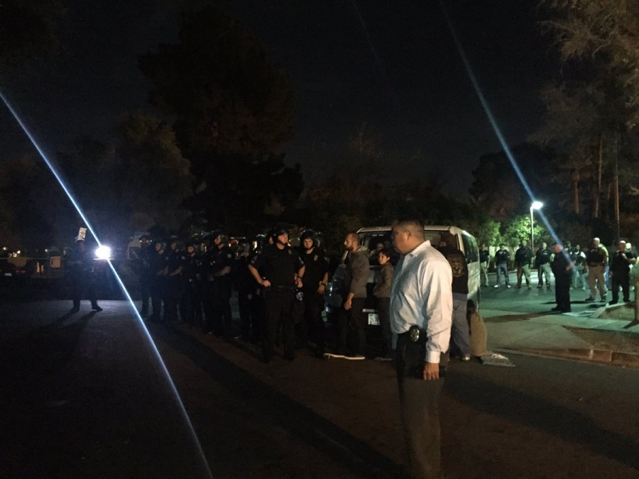 Police line in night time photo