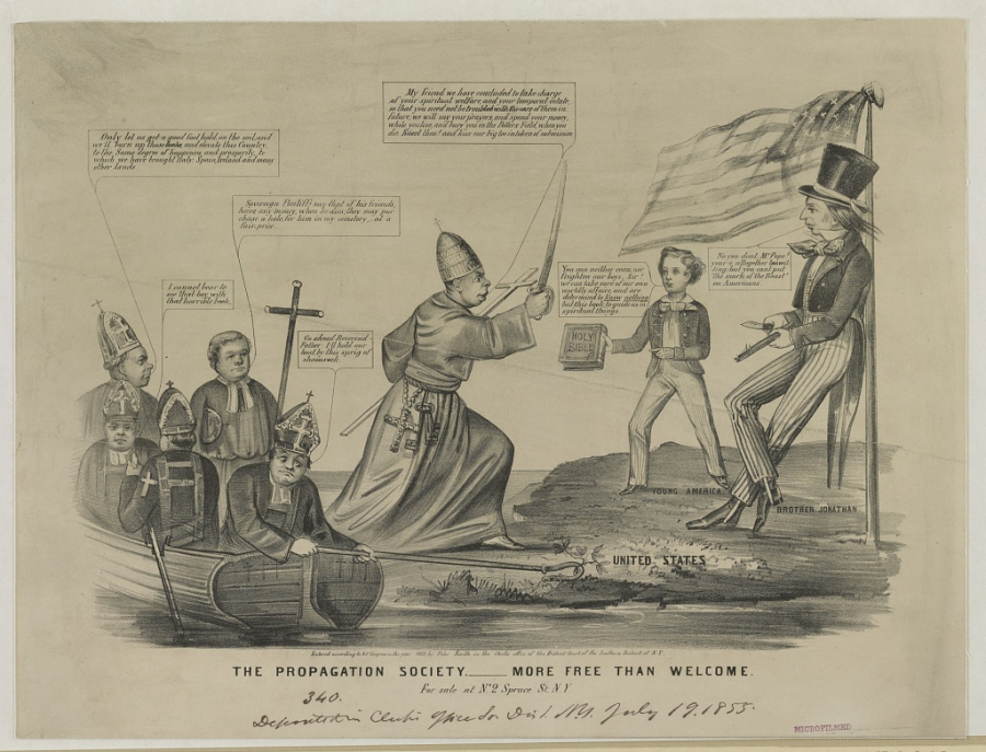 A cartoon about the invasion of Catholic immigrants from 1855