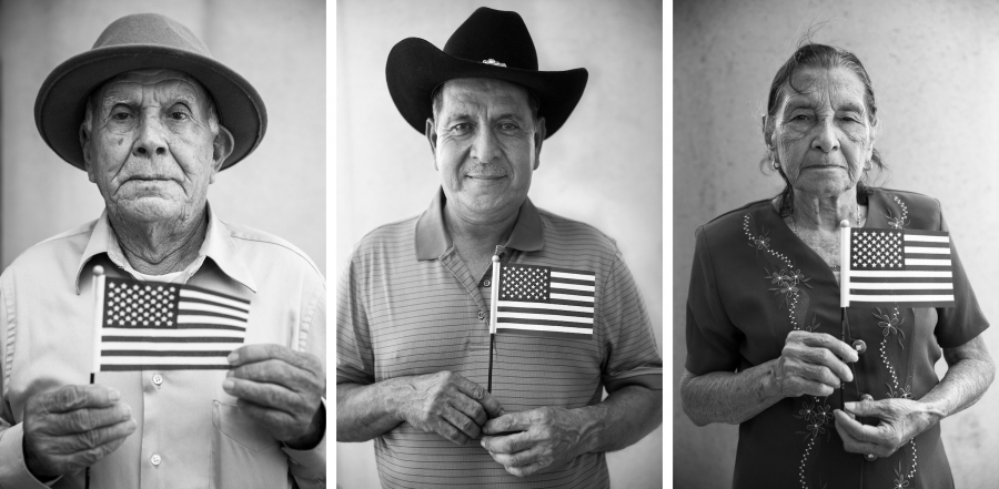 Three portraits of people holding small American flags