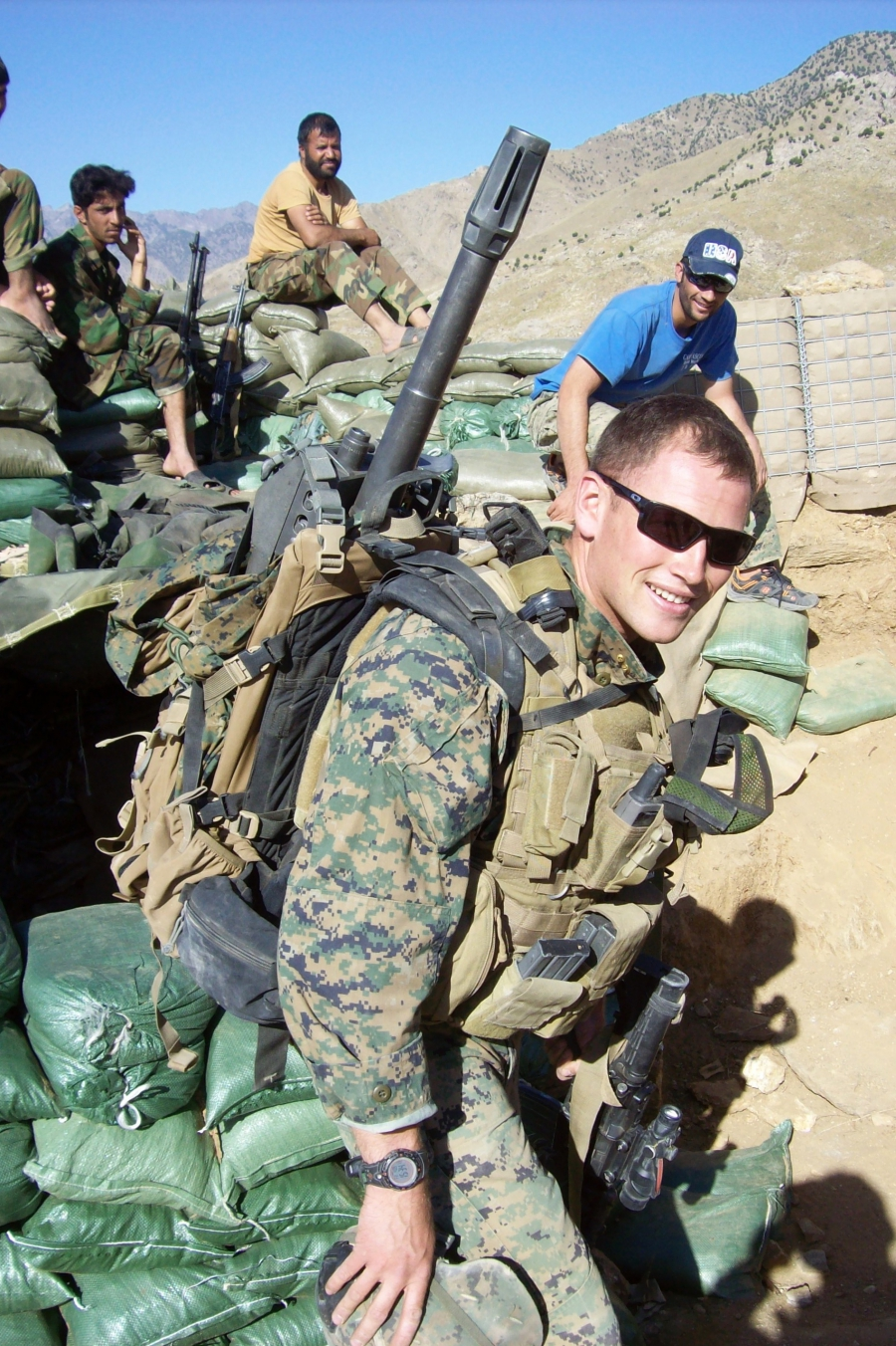 Marine Captain Graham Pulliam near Combat Outpost Rocco, Uzbin Valley, Kapisa Province, Afghanistan, summer 2009.