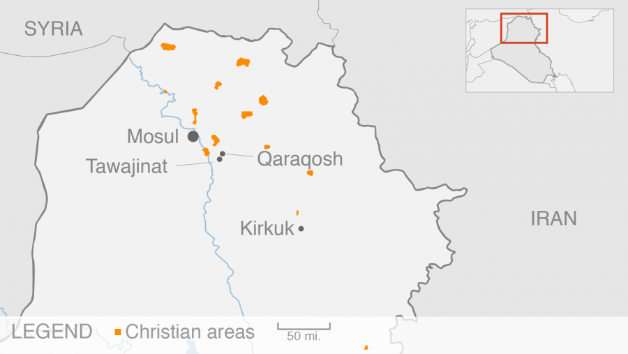 Qaraqosh is a small city to the southeast of Mosul in northern Iraq.