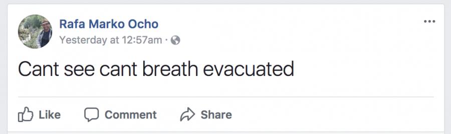 screenshot of facebook status update