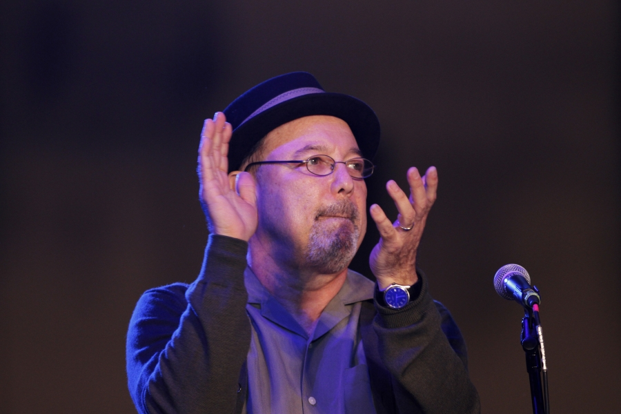 Panamanian musician Ruben Blades gestures as he performs during the closure of Panama Jazz Festival in Panama City January 19, 2013.