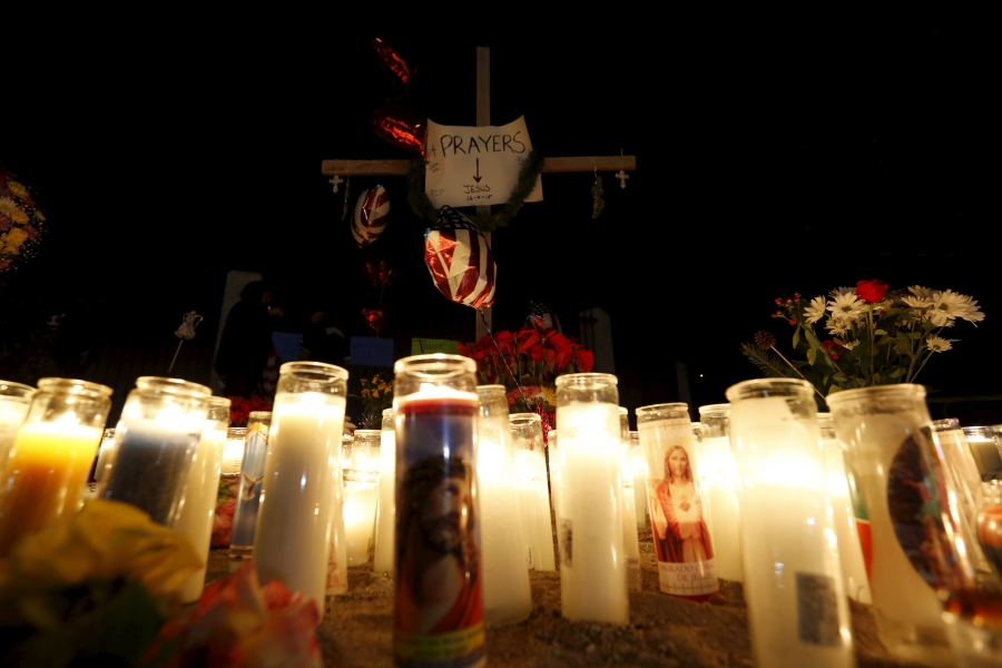 A pop-up memorial in San Bernardino