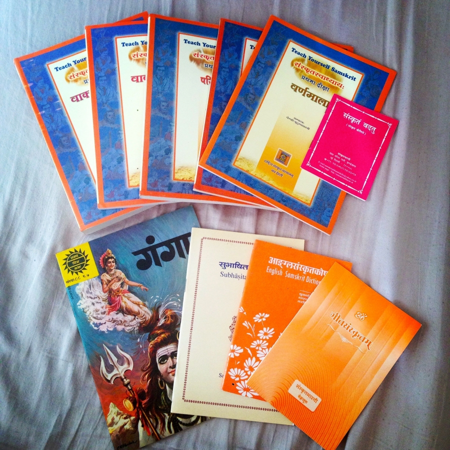 Sanskrit textbooks, songbooks and a comic book.
