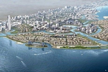 A computer generated conception of Saudi Arabia's new 100 billion dollar city going up at that edge of the Red Sea.