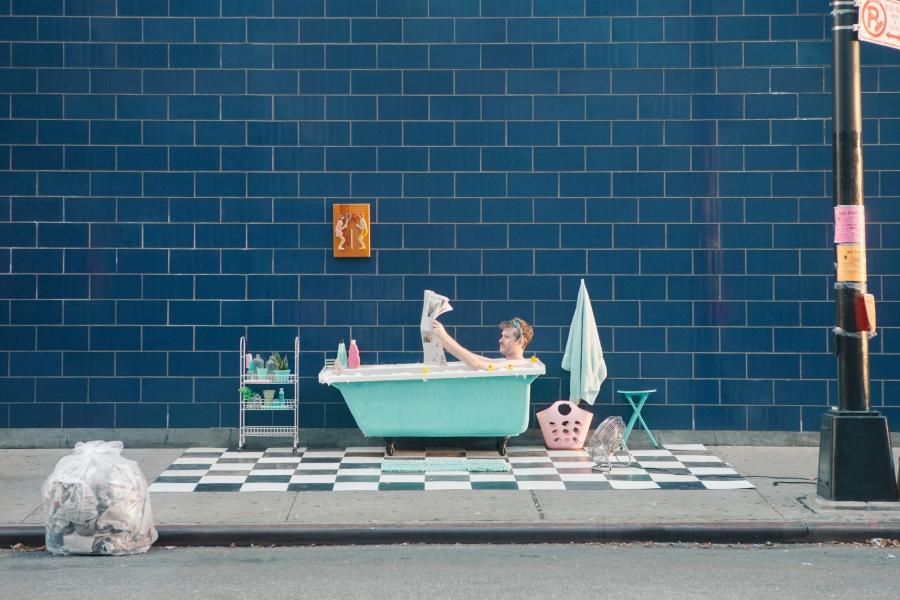 The bathroom scene on 17th Street in Manhattan.