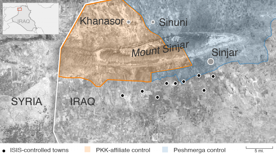 A map of Sinjar Mountain in Northern Iraq shows competing factions in the area. To the south are towns controlled by ISIS; to the east, Peshmerga-controlled areas and to the west, PKK-affiliate areas. Yazidis have had to flee to Mount Sinjar for safety.