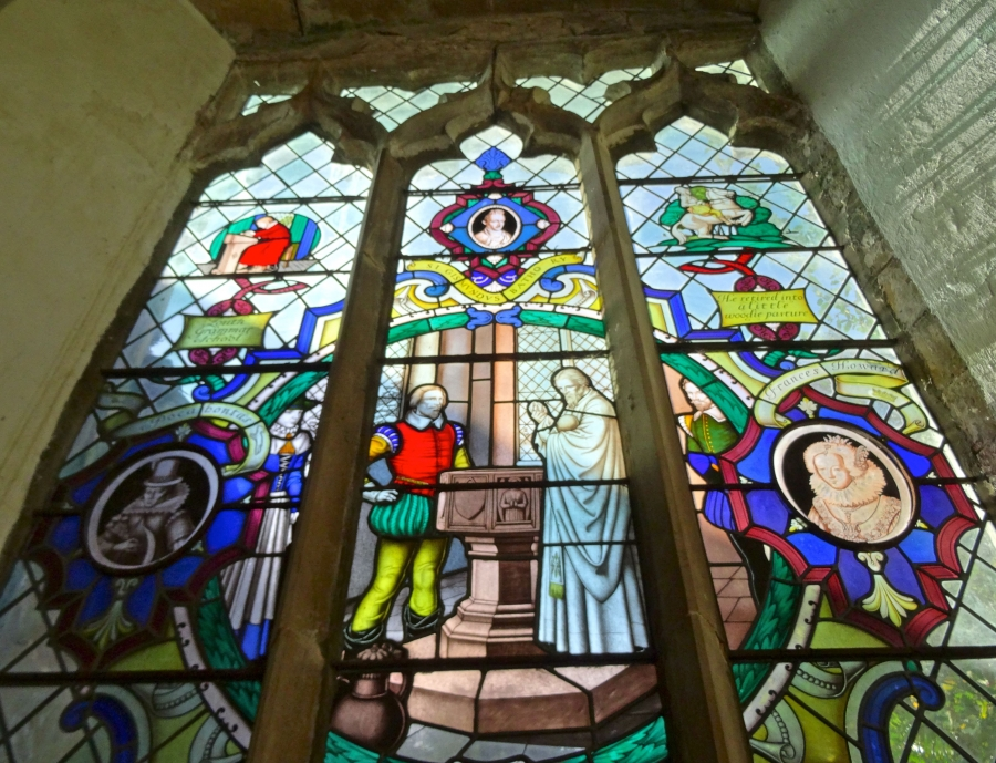 Stained glass windows in St Helena's Church, Willoughby. The window panels depict scenes from John Smith's life. They are among several items in the church that were donated by Americans.