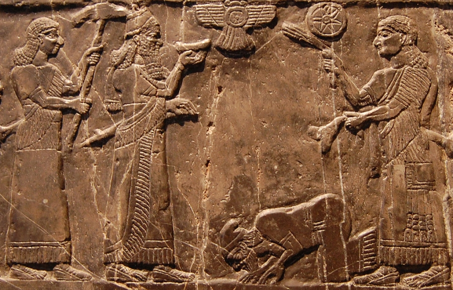 Possible depiction of Jehu, King of Israel, giving tribute to King Shalmaneser III of Assyria, on the Black Obelisk of Shalmaneser III from Nimrud (circa 827 BC) in the British Museum (London).