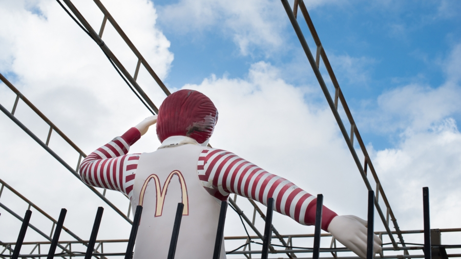 Ronald McDonald gives a salute at Guantanamo.