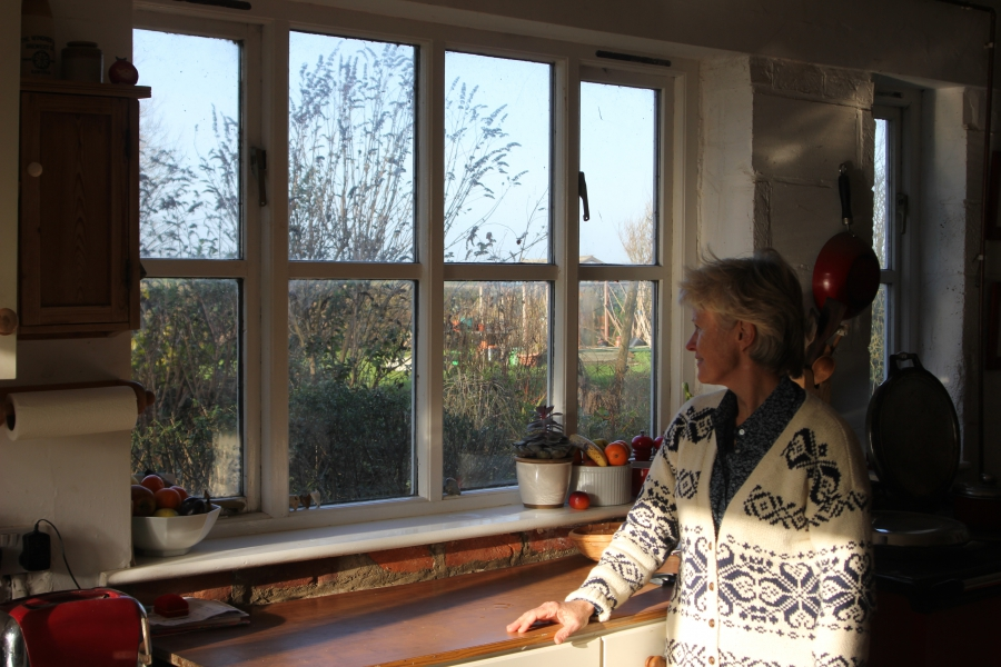 Jill Pearson at home The realigned coastline has brought the new sea wall directly outside her kitchen window