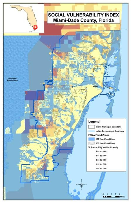 Miami-Dade County contains some of the most populated cities in Florida. The population, proximity to the sea and topography combine to make this county particularly vulnerable to sea level rise.