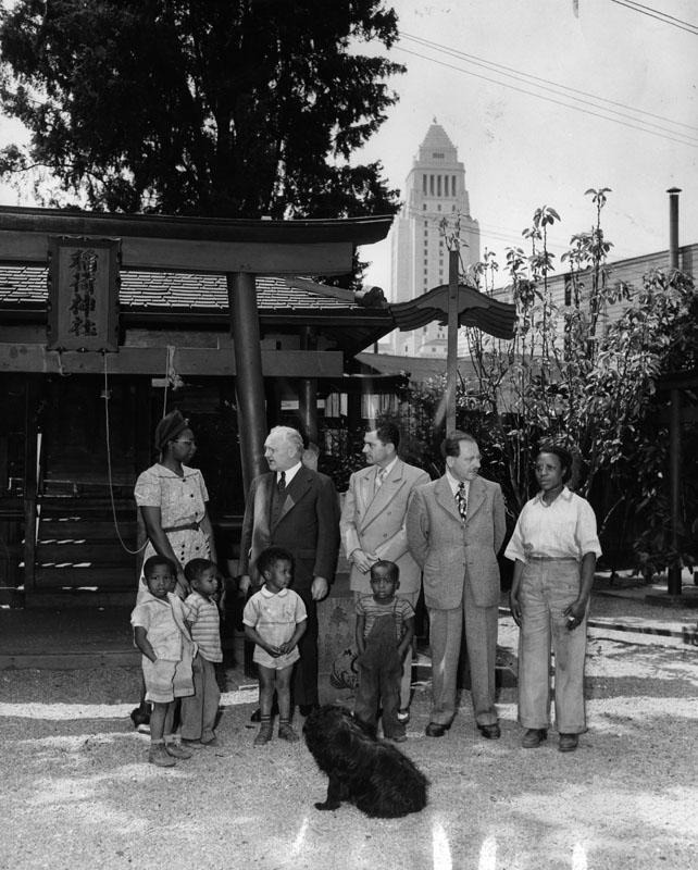 The mayor poses in Little Tokyo/Bronzeville in 1944.
