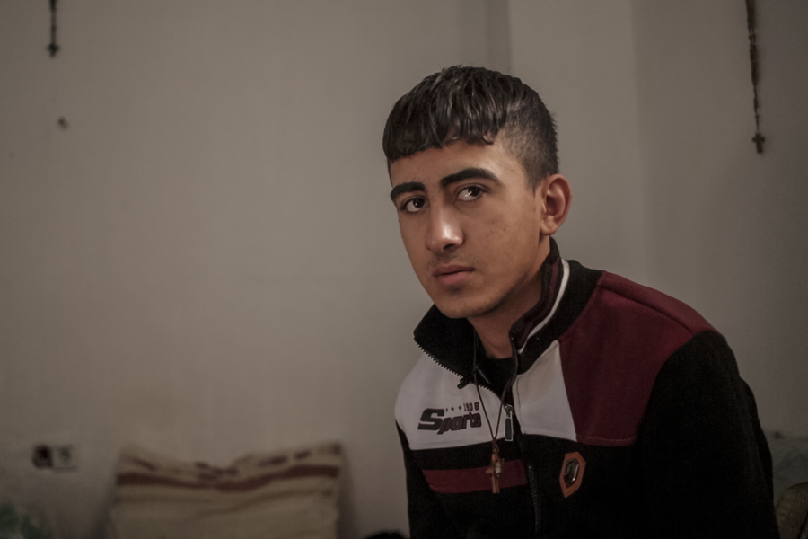 Ismail al-Kanon is interviewed in his home in Erbil, Iraq, on Nov. 25.