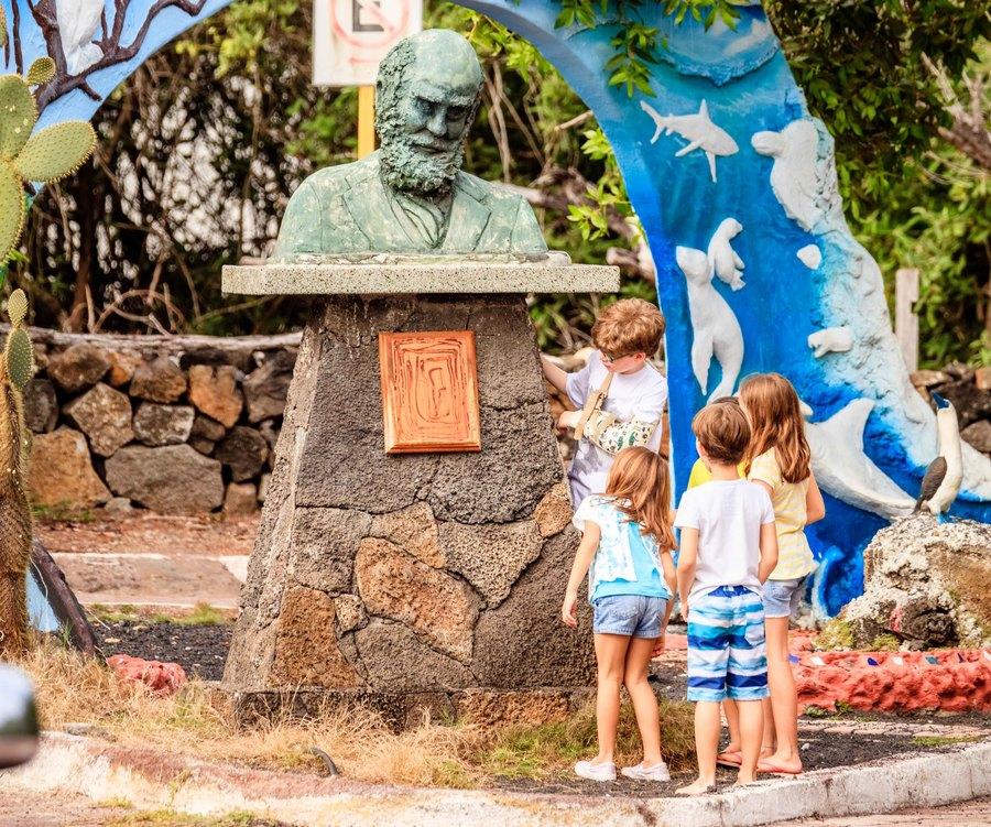 Tourist kids on Charles Darwin Ave Galapagos