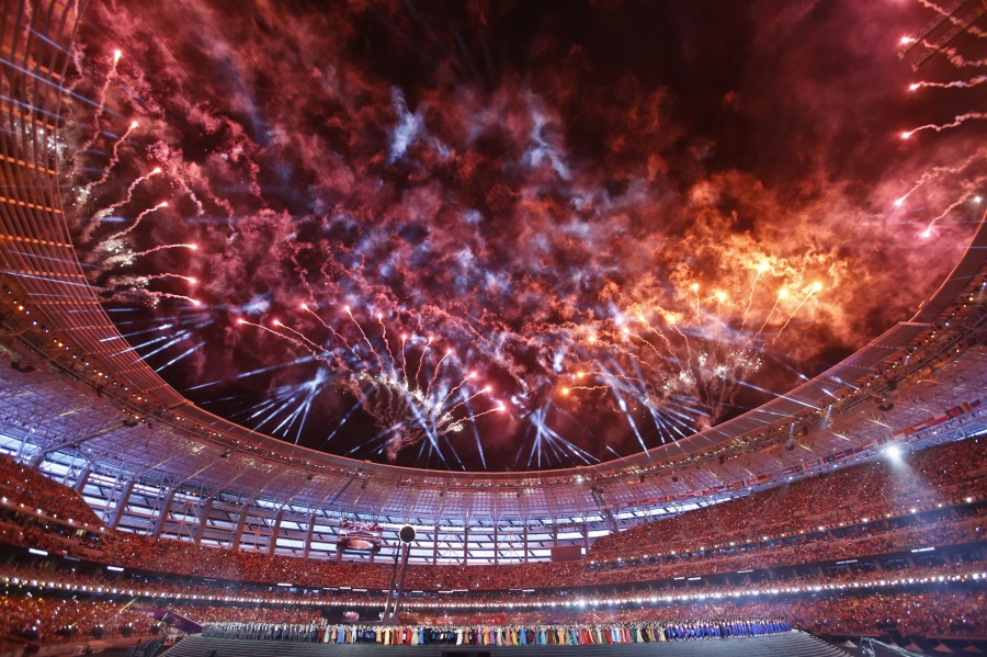 Fireworks explode during the opening ceremony of the 1st European Games in Baku, Azerbaijan, June 12 , 2015.