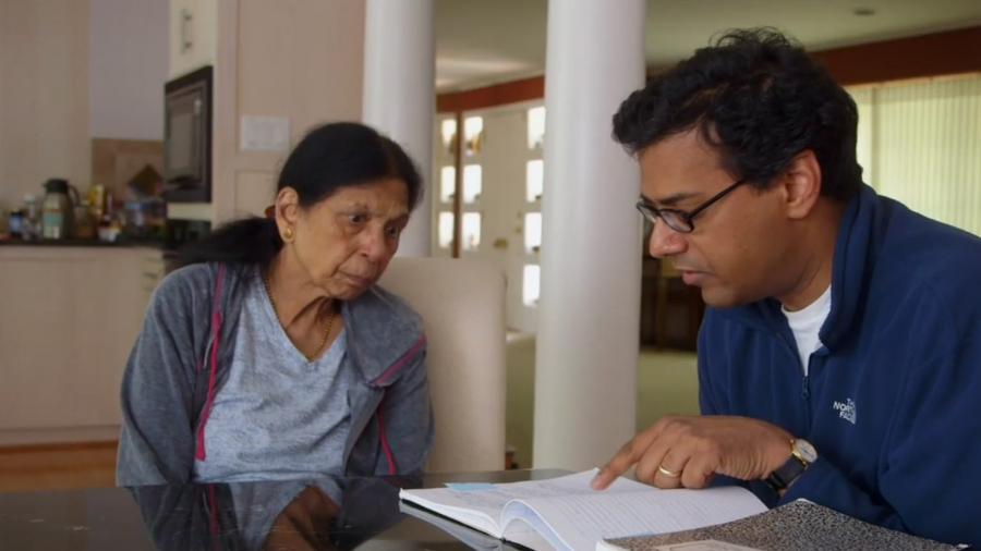 """Atul Gawande and his mother Sushila in the Frontline documentary """"Being Mortal""""."""