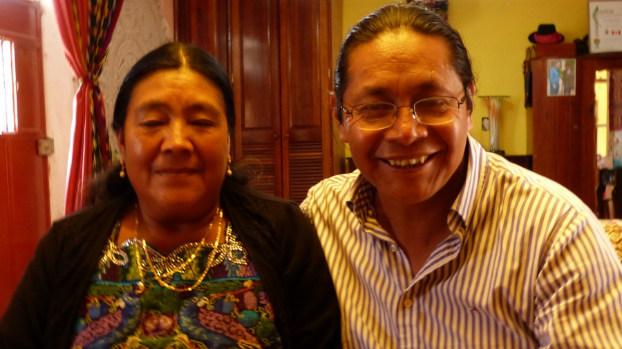Julio Cochoy persuaded Doña Margarita Aju Barreno (l) and other victims of Guatemala's civil war to collect their stories in book by telling them about Anne Frank.