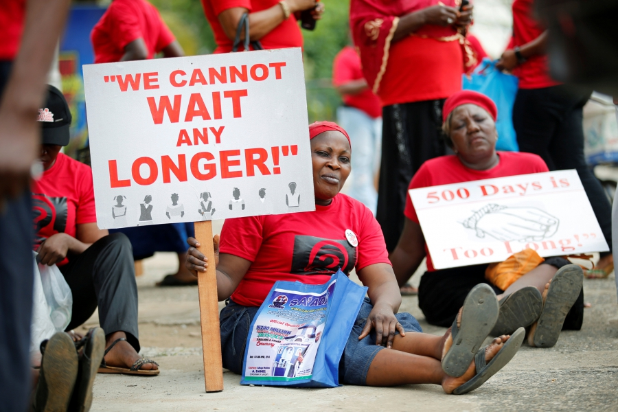 Women carrying placards attend a street protest campaigning for the rescue of abducted Chibok girls, in  Lagos, Nigeria April 14, 2016, the second anniversary of their kidnapping by Boko Haram.