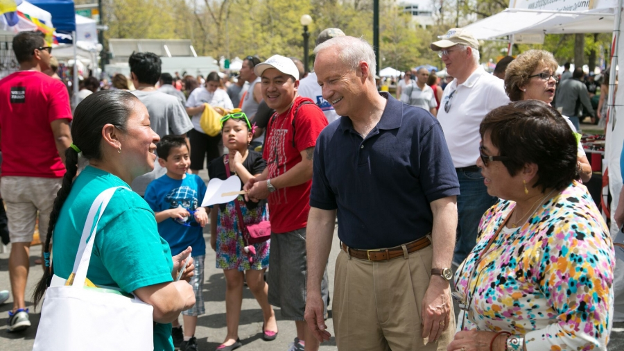 Representative Mike Coffman at a recent Cinco de Mayo celebration in Colorado's Sixth District. Coffman has been both praised for reaching out to his immigrant constituents and attacked for not doing enough to represent them in Congress.